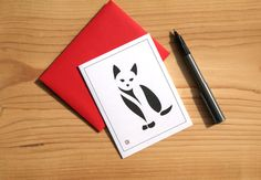 Cat Card  Greeting Card  Invitation  Thank You Card  by Sabastica
