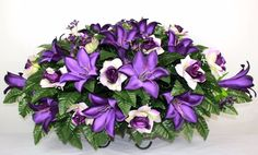 XL Beautiful Purple Roses And Lilies Tombstone Saddle Arrangement