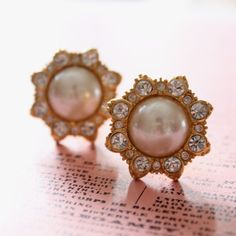 Plugs Size 0 00 & UP Faux Pearls and Rhinestones w Gold Tone Metal Upcycled Vintage Gauges for Stretched Ears Wedding Bridal Jewelry 0g 00g. $40.00, via Etsy.