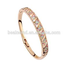 High-end women jewelry bracelets alloy rose gold plated engagement life design SL-0095 micro pave crystal fashion broad bangle