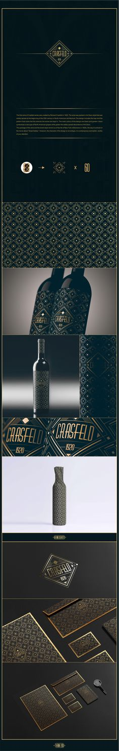 """The design includes the logo and the pattern that looks like the shelves the wines are kept in. The main colors of the design are black and golden: black symbolizes a rare type of North-American grapes while golden the widely spread decorations of Art Deco. The package of the wine and the brand style remind us of the life of New York millionaires in 1920s, the way it is shown in the movie about """"Great Gatsby"""". However, the character of the design is not antique, it is contemporary and…"""