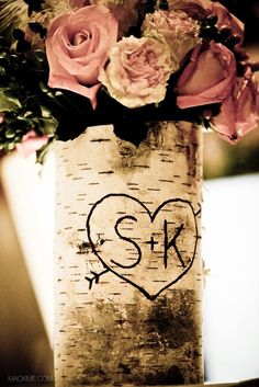 personalized birch bark wood vase by braggingbags. [idk how many trees mark our initials in the midwest...]