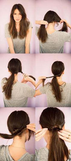 Quick and Easy Hairstyles for Straight Hair - Ponytail Twist - Popular Haircuts and Simple Step By Step Tutorials and Ideas for Half Up, Short Bobs, Long Hair, Medium Lengths Hair, Braids, Pony Tails, Messy Buns, And Ideas For Tools Like Flat Irons and Bobby Pins. These Work For Blondes, Brunettes, Twists, and Beachy Waves - https://thegoddess.com/easy-hairstyles-straight-hair