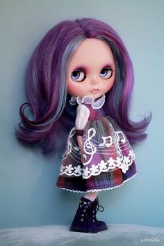 """Lovely OOAK Blythe doll with Purple and Gray hair and a """"musical"""" dress."""