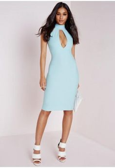Love this sexy number Missguided - Crepe High Neck Cut Out Midi Dress Powder Blue #cutoutdress #women #covetme