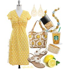 Lemonade by sparklemar on Polyvore featuring polyvore fashion style St. John's Bay Relic GUESS Sterling Essentials Butter London INC International Concepts