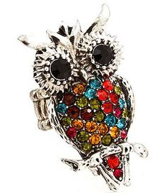 """Crystal stud Owl Stretch Ring 1.75"""" tall Available in Brown/Gold, Black/Silver, & Silver Multi"""