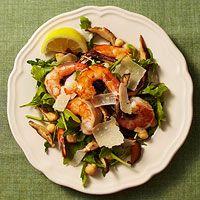 Arugula-Chickpea Salad with Sauteed Shrimp and Mushrooms