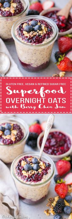 These Superfood Overnight Oats with Easy Berry Chia Jam are the perfect filling breakfast, loaded with superfoods to give your day a kickstart. This gluten-free, refined sugar-free and vegan recipe can be prepped in a just few minutes for a delicious grab Gluten Free Recipes For Breakfast, Gluten Free Breakfasts, Healthy Breakfasts, Sugar Free Vegan, Vegan Gluten Free, Paleo Vegan, Overnight Oats, Superfoods, Vegan Foods