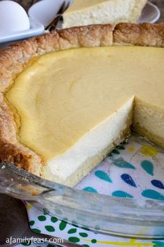 Italian Ricotta Pie - A Family Feast® This year old recipe for Italian Ricotta Pie has been passed down through generations. Perfectly sweet with great flavors - a slice of Italy! Italian Pastries, Italian Desserts, Just Desserts, Italian Cookies, Italian Foods, French Pastries, Old Italian Recipes, Sicilian Recipes, Gourmet Desserts