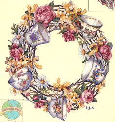 Candamar - Teacup Wreath - Cross Stitch World