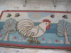 Old Vintage Primitive Hooked Rug Chicken Beautiful Blue Colors American Find   eBay