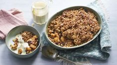 Flapjack apple crumble recipe - BBC Food Apple Recipes, Dog Food Recipes, Cinnamon Recipes, Vegetarian Recipes, Nadiya Hussain Recipes, Apple Crumble Recipe, Great British Bake Off, Crumble Topping, Thermomix