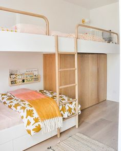 Fred's triple bunks! 💛💕🧡 Linen by Curtains by Bunks made by & designed by us ✌🏼… Kids Bedroom Designs, Kids Room Design, Bunk Rooms, Shared Rooms, Teen Shared Bedroom, Girls Bedroom, Room Girls, Bunk Beds For Girls Room, Girl Rooms