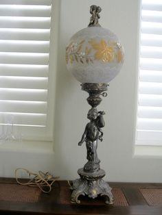 VINTAGE VICTORIAN GONE WITH THE WIND CHERUB LAMP