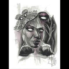 """Social Disorder IV of IV"" ink x watercolor / 12x15 cold press  Prints also available at skullxrose.com  #watercolor #painting #ink #skull #rose #worldofartists #worldofpencils #art #arte #noir #actavis #tattoo #tattooshop #tattooart #tattooartist #drawing #myworldofink"