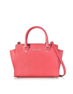 Michael Kors Selma Coral Saffiano Leather Medium Top Zip Satchel Bag