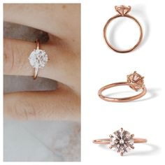 Classic, six-prong solitaire setting with 2ct round diamond. But not in rose gold. #engagementring