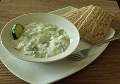 Tzatziki Dip  1 cup plain yogurt  1/2 cucumber (peeled and diced)  1 clove of garlic (minced)  1 teaspoon Apple Cider Vinegar  1 teaspoon fresh dill (chopped)  1 tablespoon olive oil  Salt and pepper to taste