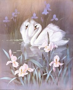 Saint-Saens : The Swan ( Le Cygne ) - Carnival of the Animals Swan Painting, Painting & Drawing, Images D'art, Ouvrages D'art, Bird Pictures, Swan Pictures, Mosaic Pictures, Swans, Illustrations