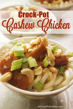 Crock-Pot Cashew Chicken - Whip up this easy recipe for cashew chicken in your slow cooker and say goodbye to Chinese take out. SO GOOD!   CrockPotLadies.com
