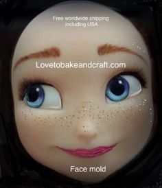 Fondant face, Gumpaste face, Sugarpaste face mold, x 8 Free Worldwide Shipping