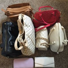 Forever 21, merona, LV purses/wallet IF YOU PURCHASE LISTING YOU'RE BUYING ALL THESE BAGS.  #1; ❌SOLD❌ #2; Red Cross body bag from target.  #3; white purse from Forever 21.  #4; brown cross body from Forever 22.  #5; ❌SOLD❌ #6; white envelope wallet from Forever 21.  #7; TRADED •very open to trades! •all these purses are between 20-40. If you'd like additional info on any of these items let me know and I'll help as much as possible. Forever 21 Bags
