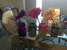Centerpieces for my daughter's Avengers birthday. Colors are of Captain America, Hulk, Ironman and Thor. All materials I bought from @michaelsstores