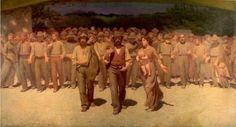 """Giuseppe Pellizza da Volpedo, """"Il quarto stato"""" (1895-1901) Olio su tela, 245x543cm - Milano, Galleria d'arte moderna"""