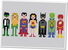 Pixel People - Justice League of America - PDF Cross Stitch Pattern - INSTANT DOWNLOAD