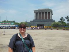 Ho Chi Minh's Mausoleum. We waited in line to see Vietnam Leader Ho Chi Minh's embalmed body heavily guarded.