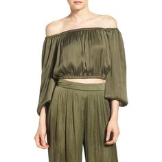 Bardot & Jarlo Off the Shoulder Top ($30) ❤ liked on Polyvore featuring tops, khaki, long sleeve crop top, off the shoulder crop top, khaki top, cropped tops and off shoulder tops