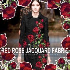 140*75CM 380G/M Weight Red Rose Jacquard Black Autumn and Winter Jacket Dress Fabric E268 #Affiliate