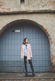 candy pop ootd, ootd, outfit, outfit of the day, Marks&Spencer, pink coat, blue top, pastel colors, pastel color ootd, fashion, blogger, fbloggers,