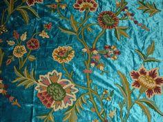 Turquoise Crewel Fabric.
