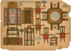 Paper cutout of dining room furniture and accessories. bought it with the Pellerin things. Paper Furniture, Doll Furniture, Dollhouse Furniture, 3d Paper, Paper Toys, Paper Crafts, Paper Doll House, Paper Houses, Craftsman Furniture