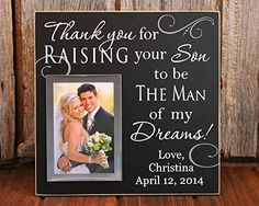 12x12 Thank you for raising the man of my dreams personalized picture frame wedding gift for grooms parents personalized wedding gift picture frame parent picture frame ** Be sure to check out this awesome product.