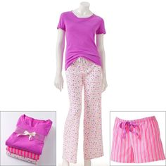 NWT Ladies SONOMA life + style 3-pc. Printed Knit and Poplin Pajama Gift Set -XL