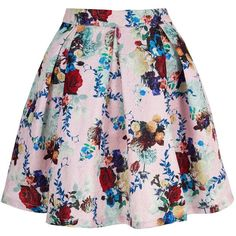Yumi Metallic Floral Printed Skater Skirt ($44) ❤ liked on Polyvore featuring skirts, pink, sale, high waisted skater skirt, circle skirt, floral skirt, pink skirt and pink skater skirt