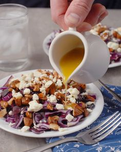 Red cabbage feta and candied almond slaw