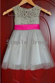tule flower girl dress wedding flower girl dress lace and tulle flower girl dresses with sash/bow