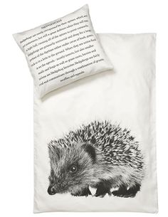 Let the little ones sleep well along the wildlife in the original bed linen from By Nord in Eco-Tex certified 100% cotton with digital b/w print of a Hedgehog.