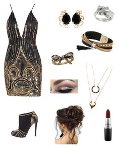 """""""Kylie Johnson- formal"""" by maggiemarin ❤ liked on Polyvore featuring Sergio Rossi, Bounkit, Simons, Marc Jacobs, WithChic, MAC Cosmetics and Tressa"""