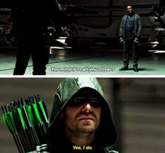 """#Arrow 5x05 """"Human Target"""" - """"You mind If I call you Oliver?"""" - #TobiasChurch #OliverQueen"""