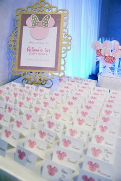 We created a pink and gold Minnie Mouse celebration for little Aliana's first birthday party. With a tonal variation of light pink and da...