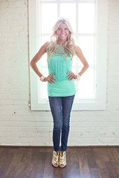 Fancy Fringe Top Turquoise CLEARANCE - Modern Vintage Boutique