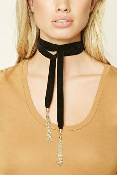 $4.90 velvet choker featuring a wrapped design with high-polish chain tassel ends.