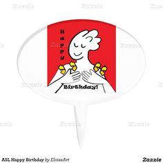 ASL Happy Birthday Cake Picks