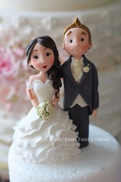 Another bride and groom topper. I made this one as an example in my wedding cake topper class :) Please do pop over to my FB page for more of my work :) thanks Fondant Cake Toppers, Custom Cake Toppers, Fondant Cakes, Wedding Dress Cake, Wedding Cakes, Zoes Fancy Cakes, Fondant People, Single Tier Cake, Bride And Groom Cake Toppers