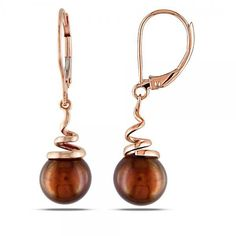 Allurez Chocolate Colored Freshwater Pearl Earrings in 14k Rose Gold... (305 CAD) ❤ liked on Polyvore featuring jewelry, earrings, pink, 14 karat gold earrings, long earrings, freshwater pearl earrings, pandora jewelry and 14k earrings